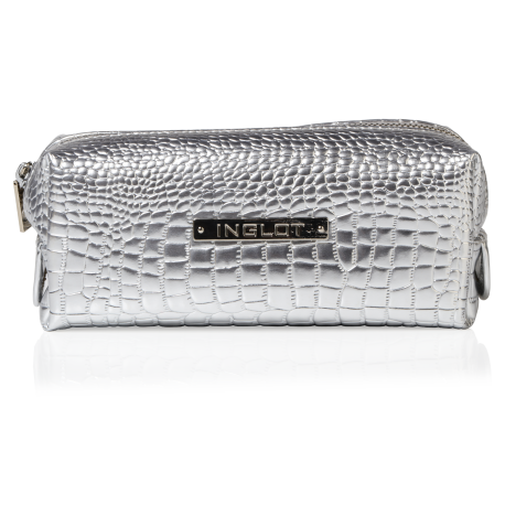 Cosmetic Bag Crocodile Leather Pattern Silver Small (R24393)