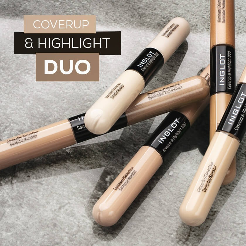 Cover unwanted imperfections and add a subtle glow on the go with irreplaceable INGLOT Coverup & Highlight Duo.